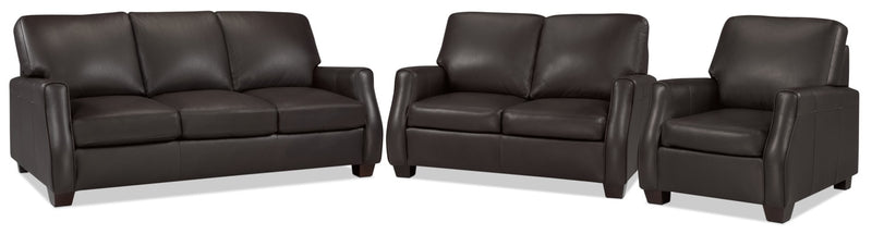 Talbot Sofa, Loveseat and Chair Set - Chocolate