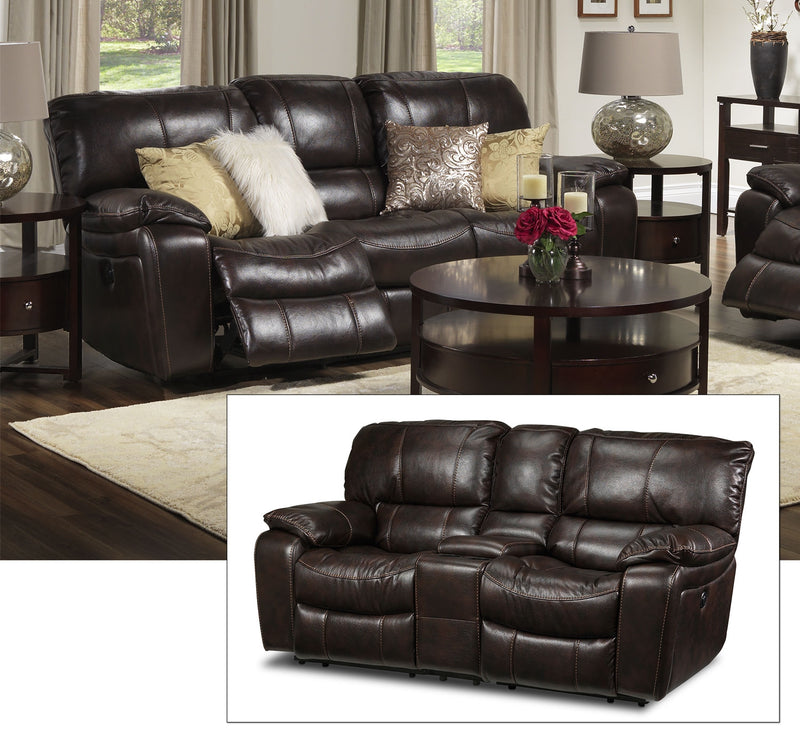 Santorini Power Reclining Sofa and Reclining Loveseat with Console - Walnut
