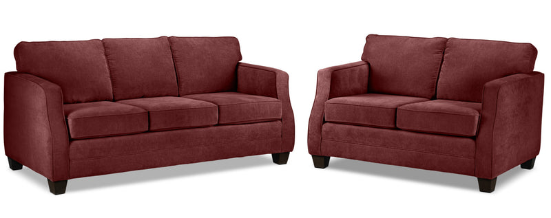 Agnes Sofa and Loveseat Set - Merlot