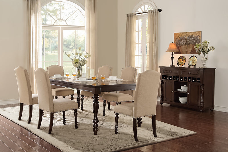 Benwick 7-Piece Dining Set - Dark Cherry and Beige
