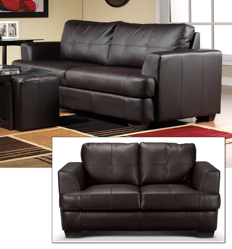 Caitlyn Sofa and Loveseat Set - Dark Chocolate