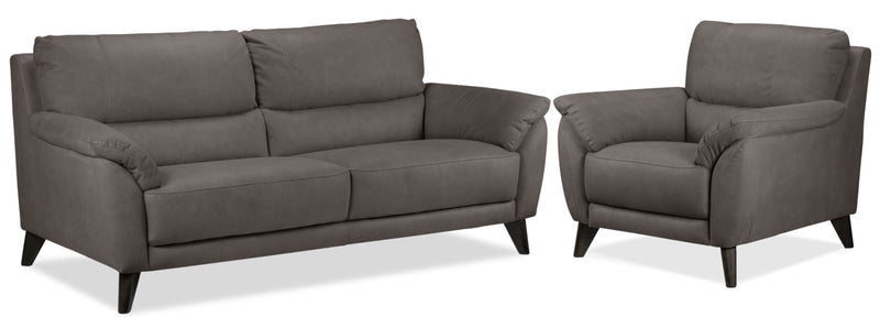 Stafford Sofa and Chair Set - Charcoal