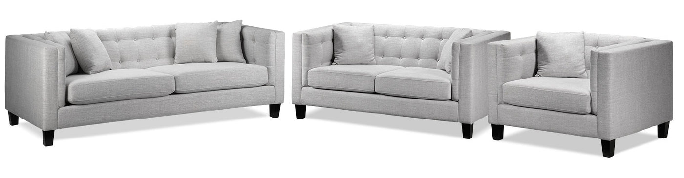 Astin Sofa, Loveseat and Chair and a Half - Grey | Leon's