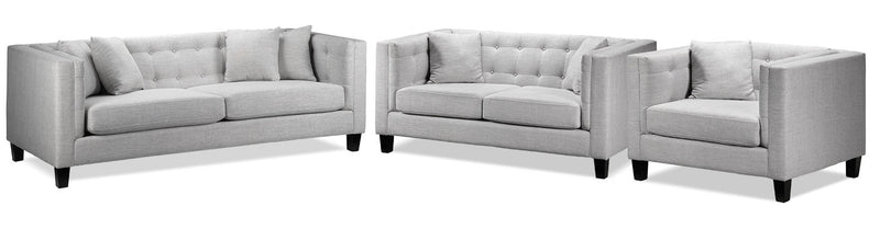 Astin Sofa, Loveseat and Chair and a Half - Grey