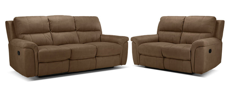 Roarke Reclining Sofa and Reclining Loveseat Set - Tobacco