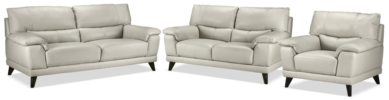 Braylon Sofa, Loveseat and Chair Set - Silver Grey
