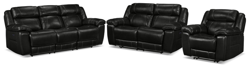 Solenn Power Reclining Sofa, Reclining Loveseat and Recliner - Black