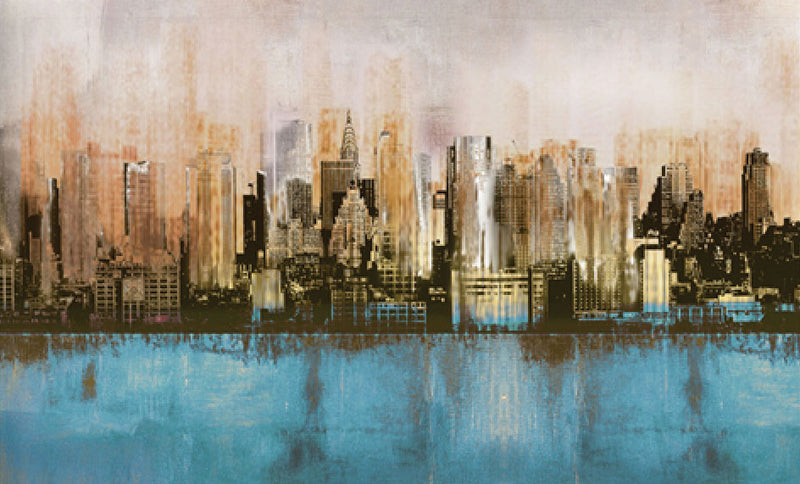 "Urban Reflection Canvas Painting (60"" X 30"")"