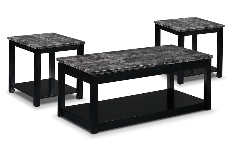 Selena Coffee Table and Two End Tables - Black