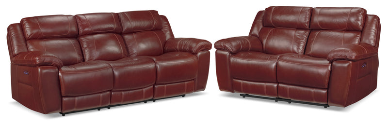 Solenn Power Reclining Sofa and Reclining Loveseat - Redwood