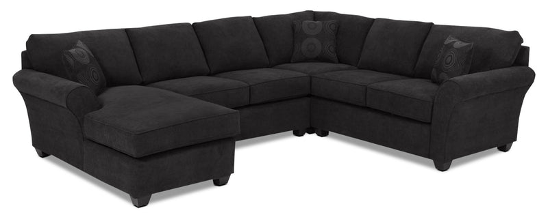 Althea 4-Piece Sectional with Left-Facing Chaise - Black