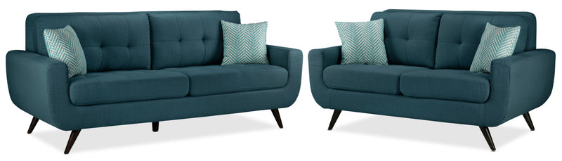 Julian Sofa and Loveseat Set - Blue