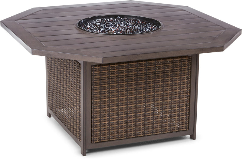 Davenport Outdoor Dining Table with Gas Fire Pit - Brown