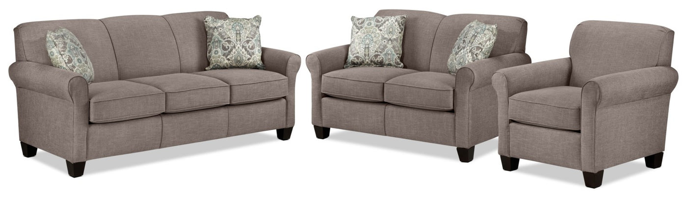 bb3bee370d Ashford Sofa, Loveseat and Chair Set - Stone. Touch to zoom