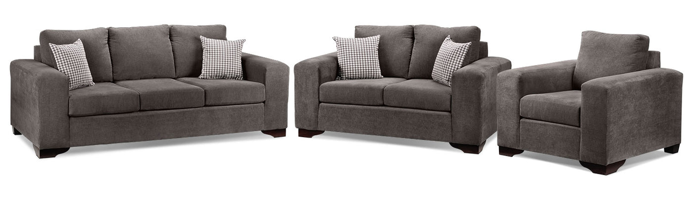 Fava 3 Pc Living Room Package Grey Leon S