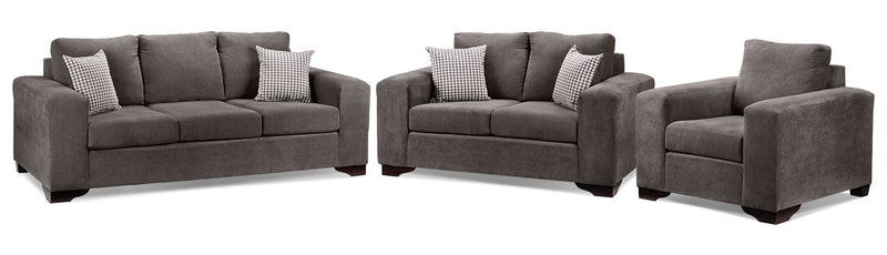Fava 3 Pc. Living Room Package - Grey