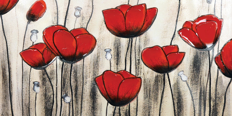 "Poppies Canvas Painting (60"" X 30"")"