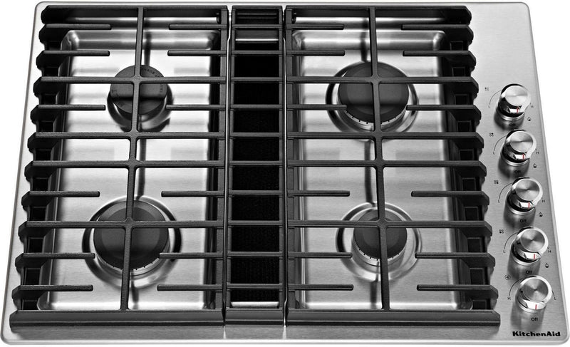 "KitchenAid Stainless Steel 30"" Gas Downdraft Cooktop - KCGD500GSS"