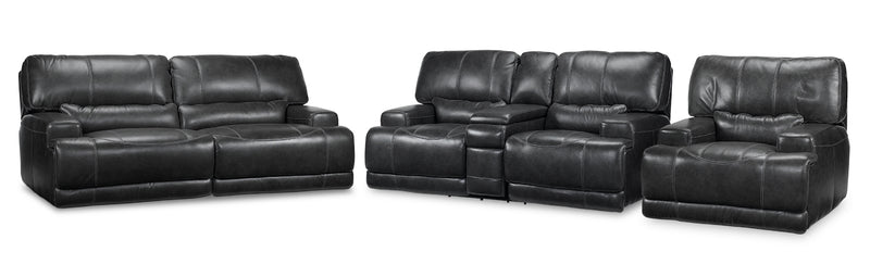Dearborn Power Reclining Sofa, Reclining Loveseat with Console and Recliner Set - Charcoal