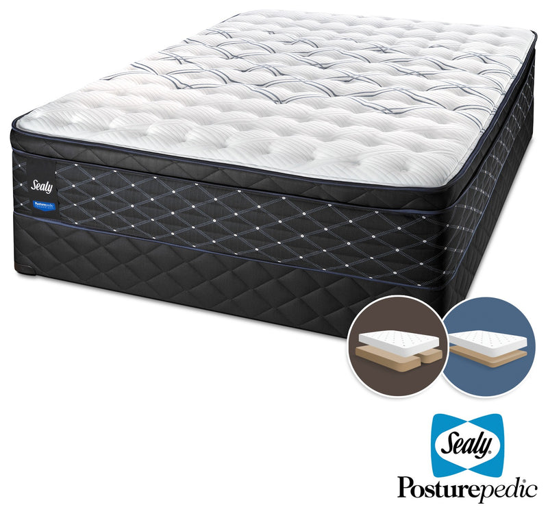 Sealy Entity Plush King Mattress and Split Low-Profile Boxspring