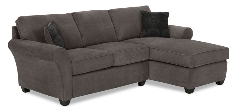 Althea 2-Piece Sectional with Right-Facing Chaise - Charcoal