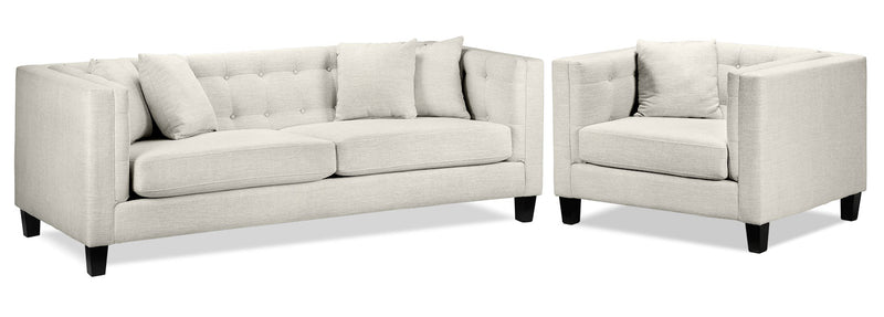 Astin Sofa and Chair and a Half Set - Wheat