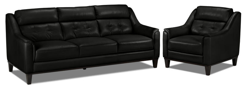 Linda Sofa and Chair Set - Black