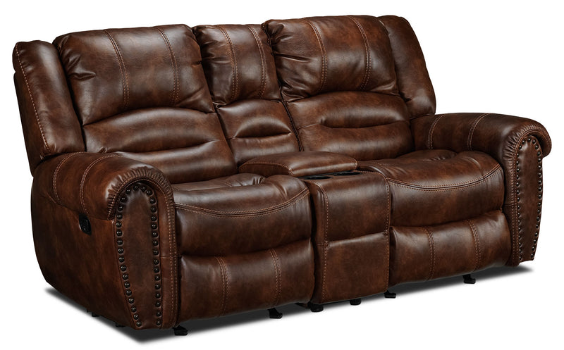 Whitaker Gliding Reclining Loveseat with Console - Brown
