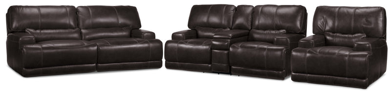 Dearborn Power Reclining Sofa, Reclining Loveseat w/ Console and Recliner Set - Blackberry