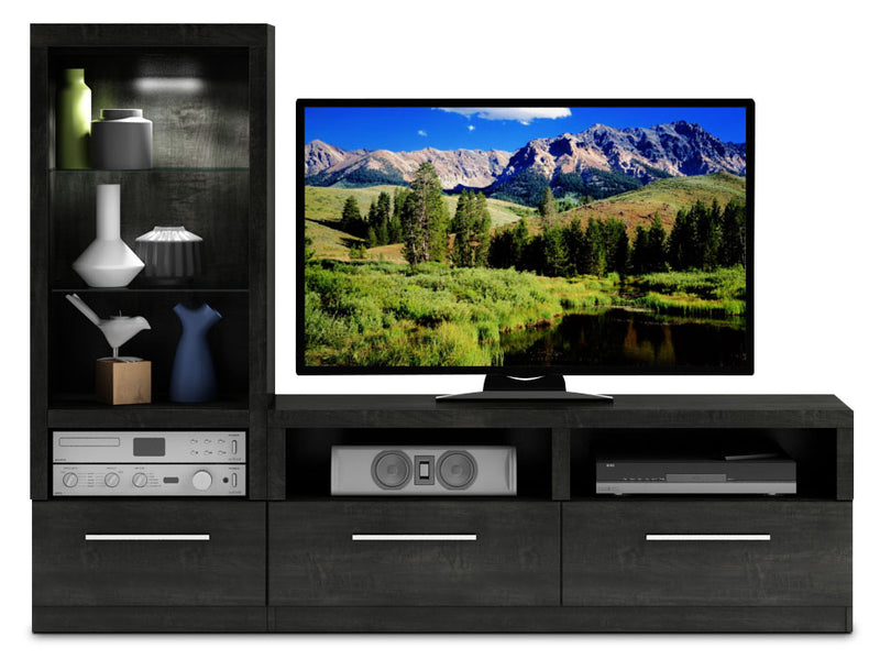 Rhea 2-Piece Entertainment Wall Unit - Charcoal Grey