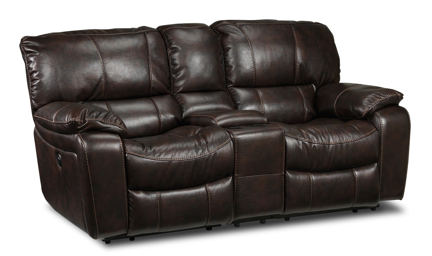 Santorini Power Reclining Loveseat With Console Walnut Leon S