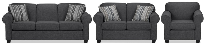 Aristotle Sofa, Loveseat and Chair Set - Graphite