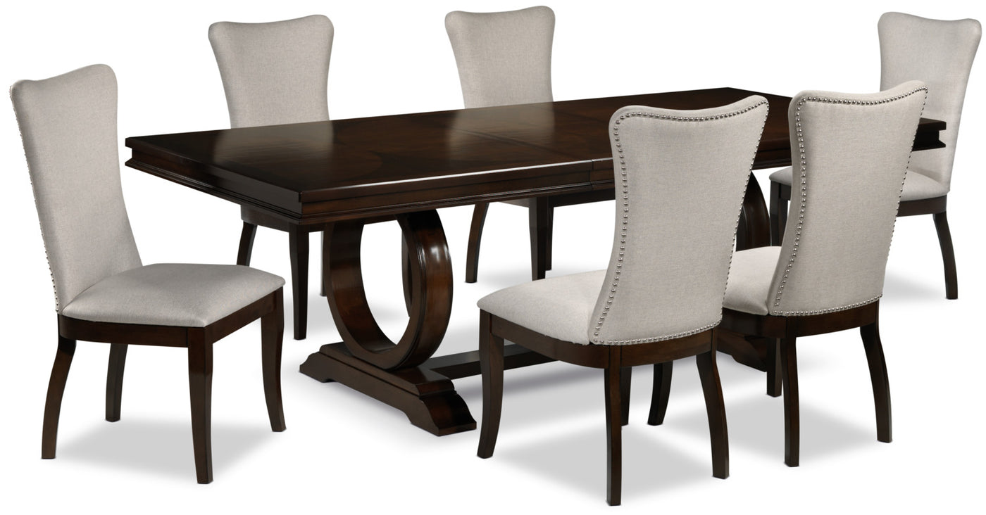 Rosario 7 Piece Dining Room Set Cherry And Beige Leon S