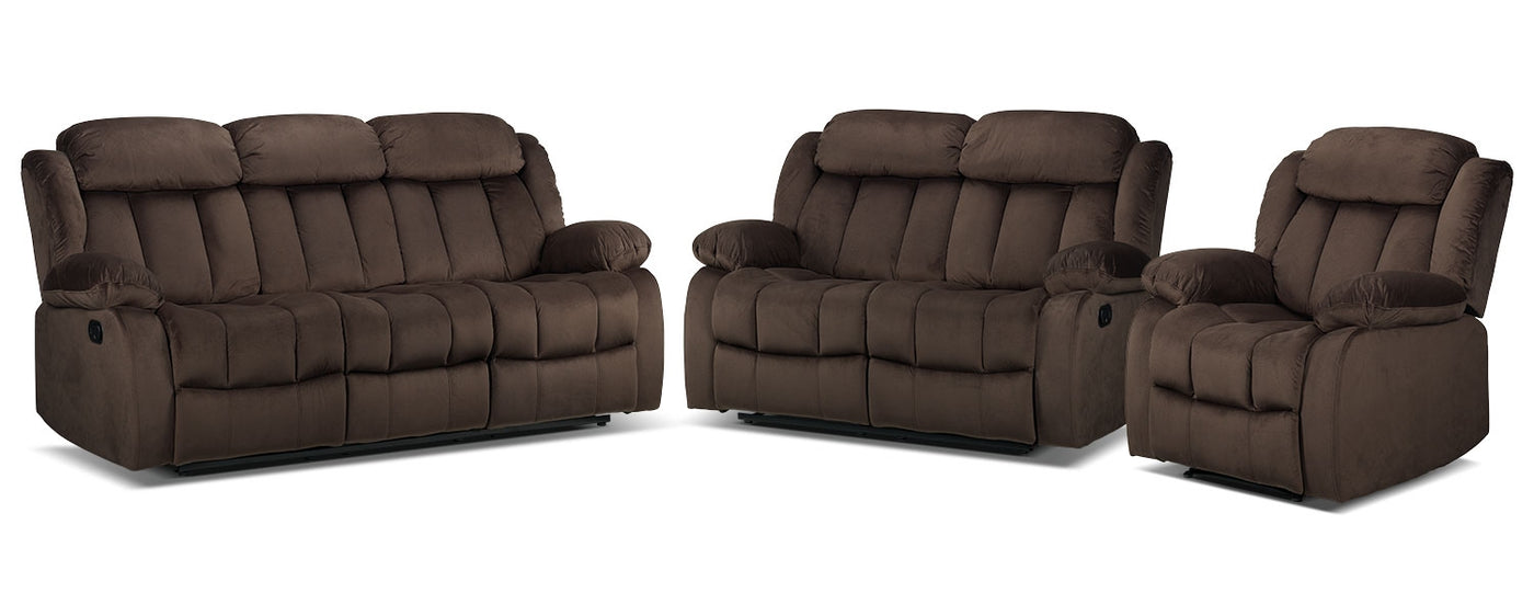 Alabama Reclining Sofa Loveseat And Recliner Set Deep Brown Leon S