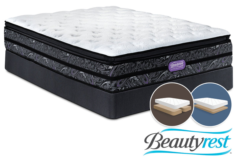 Simmons Beautyrest Ultra Garrett Cushion Firm King Mattress and Split Low-Profile Boxspring Set