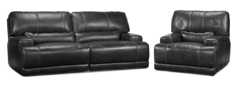 Dearborn Power Reclining Sofa and Recliner Set - Charcoal