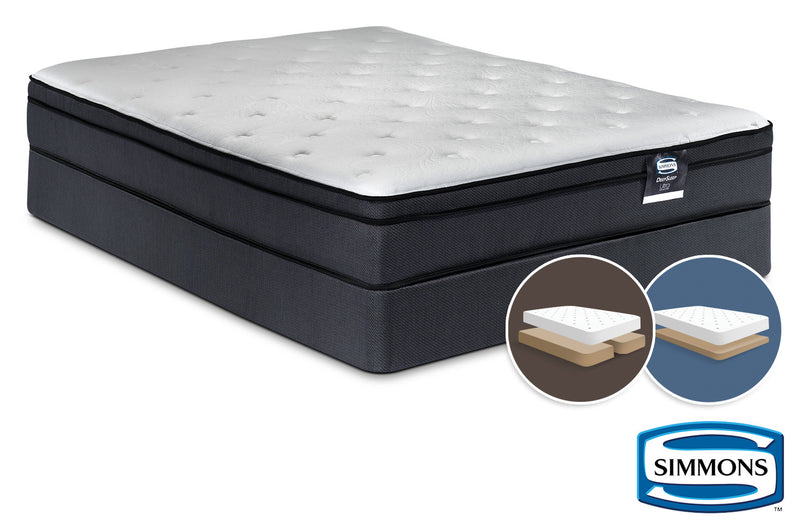 Simmons DeepSleep Ultra Jenna II Firm King Mattress and Low-Profile Split Boxspring Set