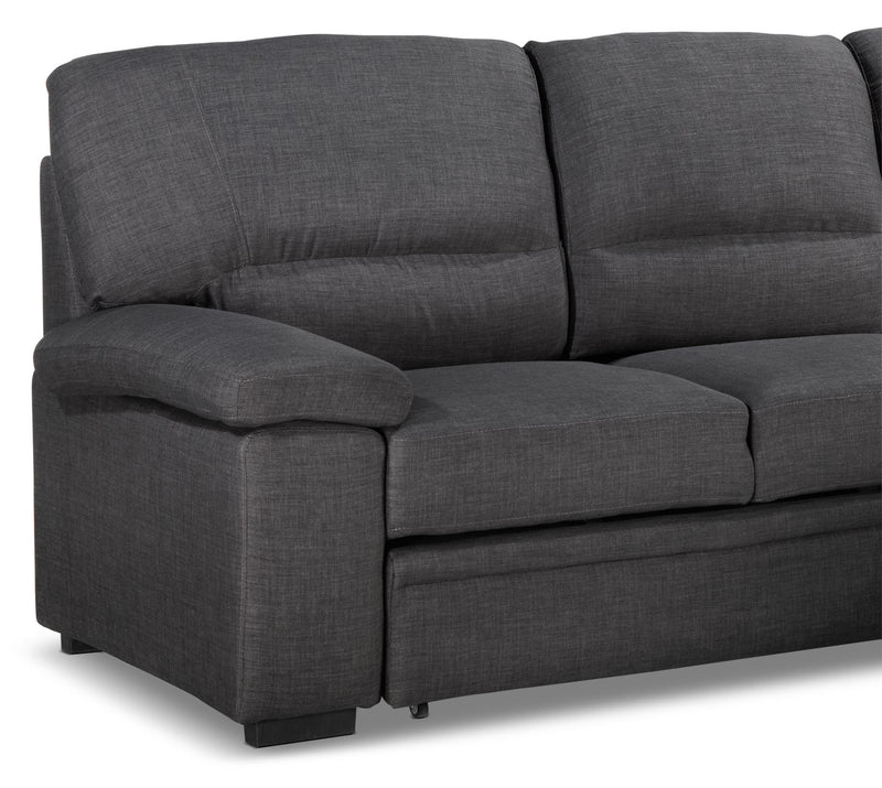 Leon S Furniture Sectional Sofas: Tessaro Chaise Sofa With Pop-Up Bed - Charcoal