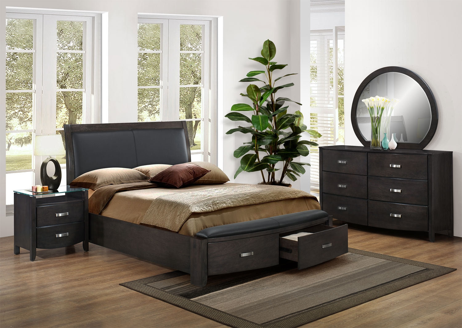Cinema 6 Piece King Bedroom Set Charcoal Leon S