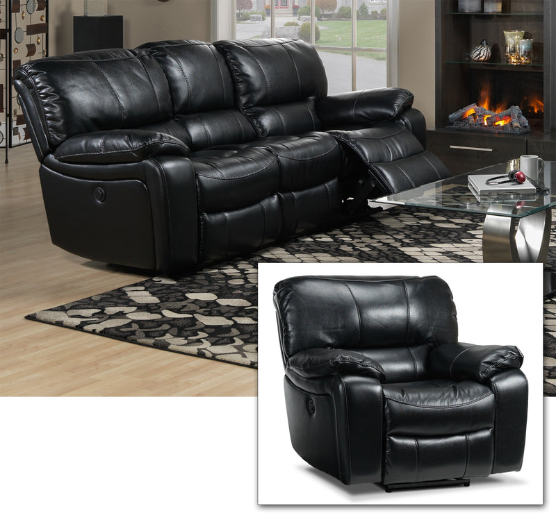Santorini Power Reclining Sofa and Recliner Set - Black