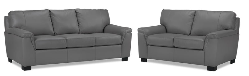 Reynolds Sofa and Loveseat Set - Grey