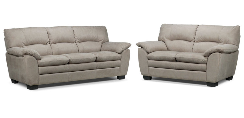 Kelleher Sofa and Loveseat Set - Silver Grey