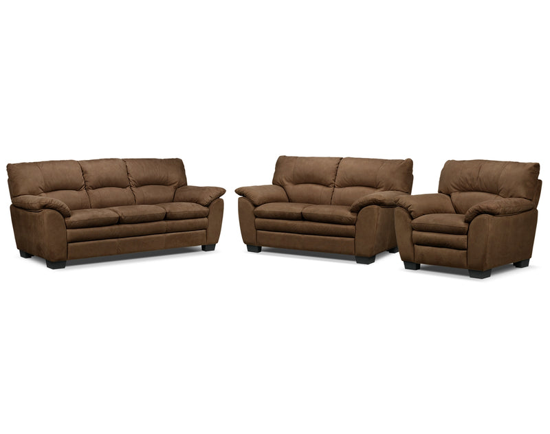 Kelleher Sofa, Loveseat and Chair Set - Hazelnut