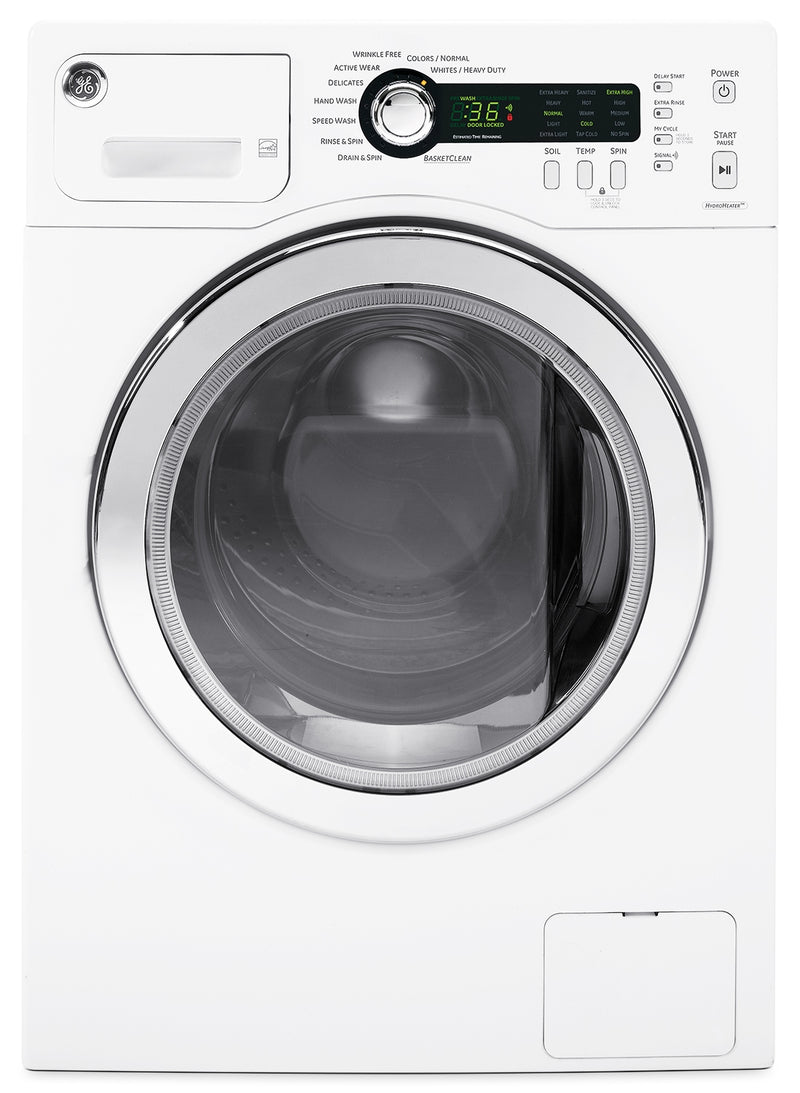 GE White Front-Load Washer (2.6 Cu. Ft. IEC) - WCVH4800KWW