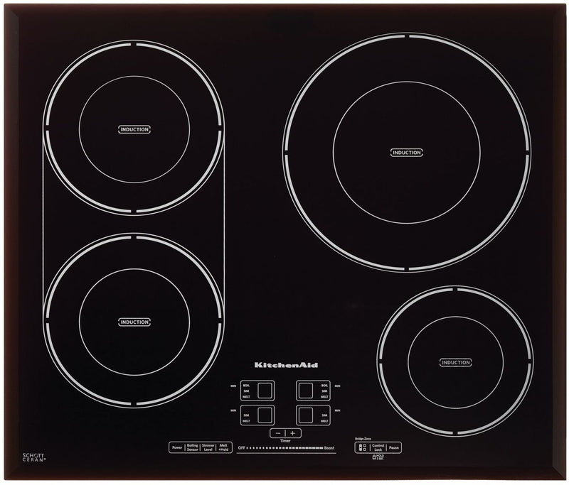 "KitchenAid Black 24"" Induction Cooktop - KCIG704FBL"