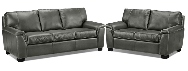 Reynolds Sofa and Loveseat Set - Dark Grey