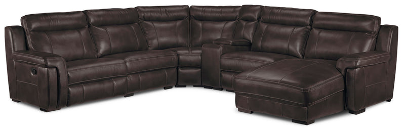 Bolero 6-Piece Reclining Sectional with Right-Facing Chaise - Coffee