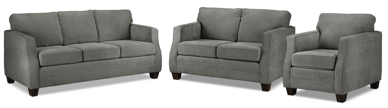 Agnes Sofa, Loveseat and Chair Set - Slate