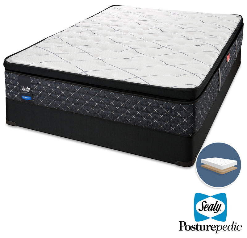 Sealy Pathos Plush Queen Mattress and Low-Profile Boxspring Set