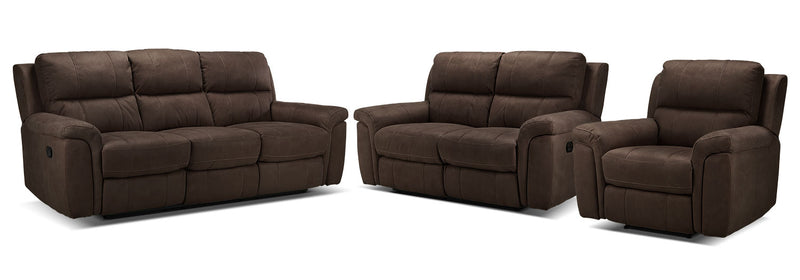 Roarke Reclining Sofa, Reclining Loveseat and Recliner Set - Walnut